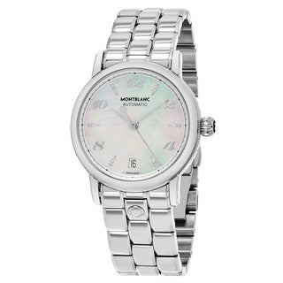 Mont Blanc Women's 107117 'Star' Mother of Pearl Diamond Dial Stainless Steel Swiss Automatic Watch