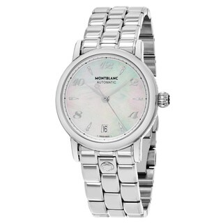 Mont Blanc Women's 'Star' Mother of Pearl Diamond Dial Stainless Steel Swiss Automatic Watch