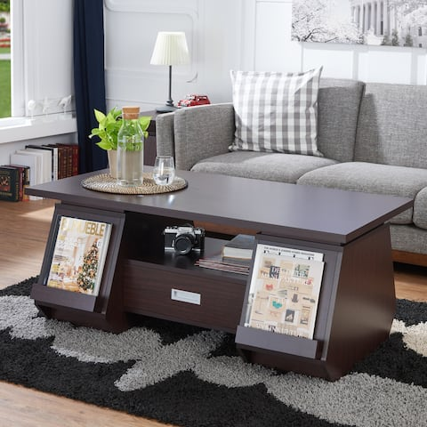 Furniture of America Jere Contemporary Walnut 1-drawer Coffee Table