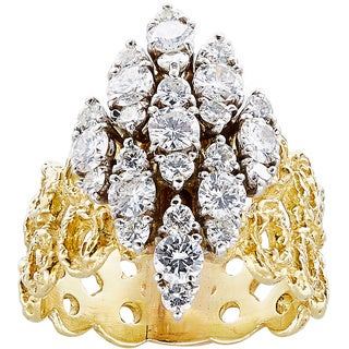 18k Yellow Gold 3ct TDW White Diamonds Center in Wide Nugget Style Estate Band (G-H, VS1-VS2)
