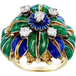 18k Yellow Gold 2/3ct TDW Enamel Estate Ring (G-H, VS1-VS2)