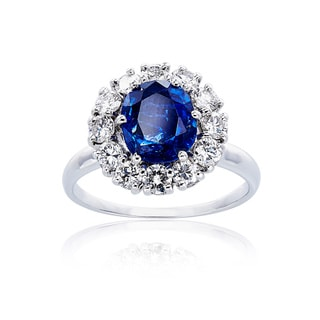 18K White Gold 1 1/4ct TDW Diamonds and Sapphire Ballerina Estate Ring (G-H, VS1-VS2)