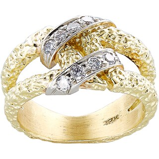 18K Yellow Gold 1/2ct TDW White Diamond Twin Shank Nugget Style Esate Ring (G-H, SI1-SI2)