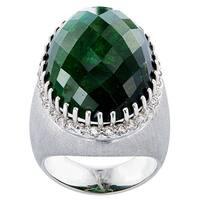 18k White Gold 1ct TDW White Diamond Green Tourmaline Cocktail Estate Ring Size 8.25 (G-H, VS1-VS2)