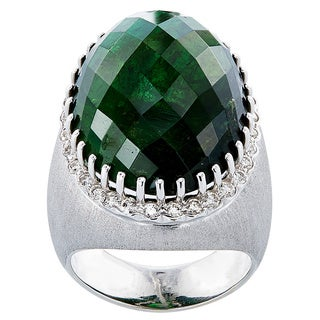 18k White Gold 1ct TDW White Diamond Green Tourmaline Cocktail Estate Ring Size 8.25 (G-H, VS1-VS2)