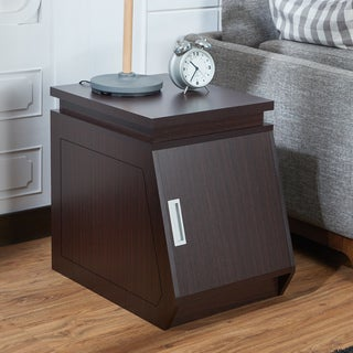 Furniture of America Jarrett Contemporary Angular Walnut Storage End Table