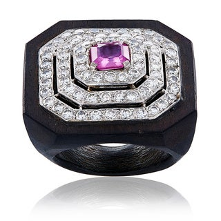 Ebony and 3ct TDW White Diamond and Pink Tourmaline Octagon Estate Cocktail Ring (G-H, VS1-VS2)