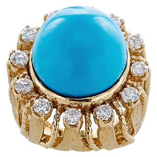 14k Yellow Gold 1 1/4ct TDW Diamond and Turquoise Estate Ring (G-H, SI1-SI2)