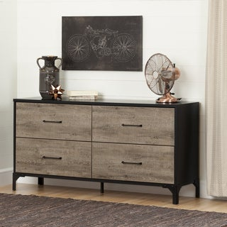 South Shore Valet Weathered Oak and Ebony 4-drawer Double Dresser