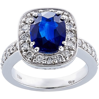 18k White Gold 4/5ct TDW Diamonds and Sapphire Estate Cocktail Ring Size 6 (G-H, SI1-SI2)