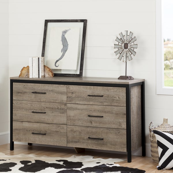 South Shore Munich Oak Laminate 6 Drawer Double Dresser