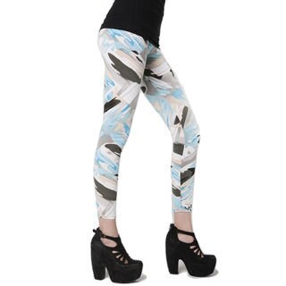 HoneyComfy Women's Stella Elyse Watercolor Strokes Cotton Printed Leggings