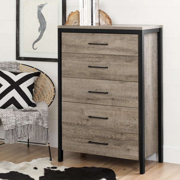 Merveilleux South Shore Furniture Munich Weathered Oak Laminated Particleboard And  Black Metal 5 Drawer Chest
