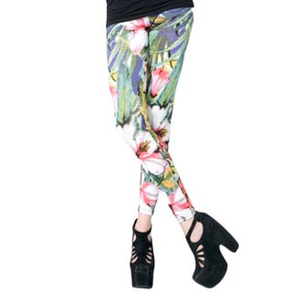 Stella Elyse Women's Multicolored Polyester Tropical Flowers Printed Cotton Leggings