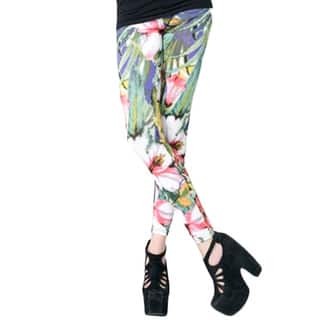 Stella Elyse Women's Multicolored Polyester Tropical Flowers Printed Cotton Leggings (Option: Multi)|https://ak1.ostkcdn.com/images/products/13260299/P19971775.jpg?impolicy=medium