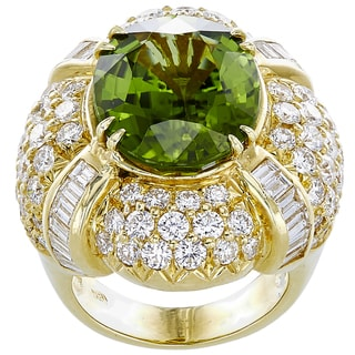 18K Yellow Gold 5ct TDW Peridot and Diamonds Cocktail Ring (G-H, VS1-VS2)
