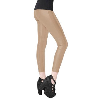 Stella Elyse Women's Grey Leatherette Side-knit Panle Leggings