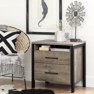 South Shore Munich Weathered Oak Laminate 2-Drawer Nightstand