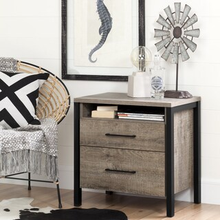South Shore Furniture Munich Weathered Oak-finished Laminate 2-drawer Rustic Nightstand