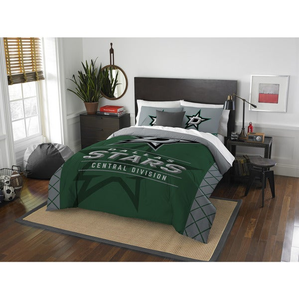 The Northwest Company NHL Dallas Stars Draft Grey and Green Full/ Queen 3-piece Comforter Set