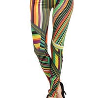HoneyComfy Women's Streaking Stripes Polyester Blend Printed Seamless Fashion Leggings