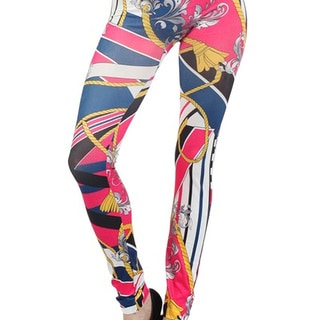 Lady's Paris Tassels and Nautical Stripes Pink Polyester/Elanstane Seamless Leggings