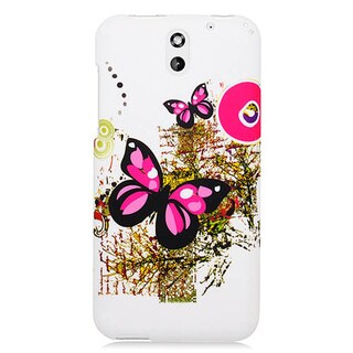 HTC Desire 610 Two Pink Butterflies 117 Rubber Cover