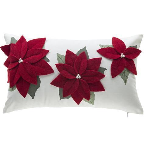 Three Poinsettia Red Cotton Lumbar Throw Pillow