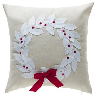 Poinsettia Wreath Throw Pillow