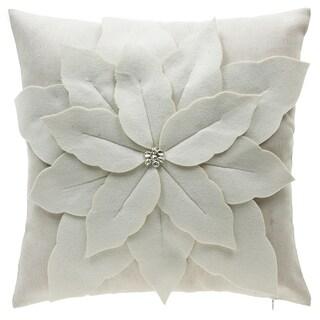 Poinsettia Off-white Polyester and Linen Throw Pillow
