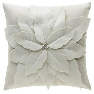 Poinsettia Off-white Polyester and Linen Throw Pillow