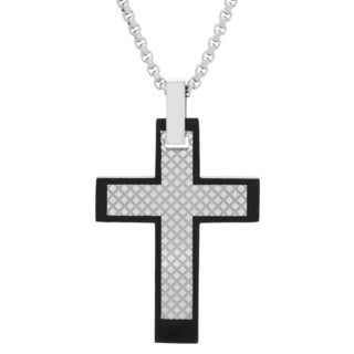 Two-tone Men's Stainless Steel Cross Pendant Necklace