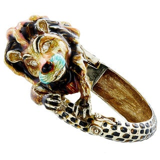 14k Yellow Gold 1/7ct TDW White Diamond Multicolored Enamel Giant Lion Estate Bangle (H-I, SI1-SI2)
