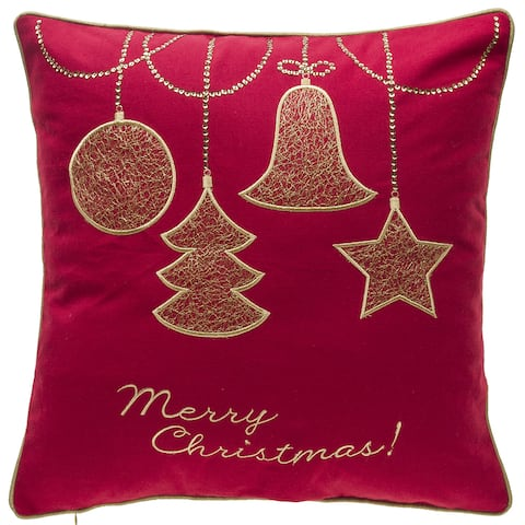 Gold Ornaments Embroidery Decorative Throw Pillow