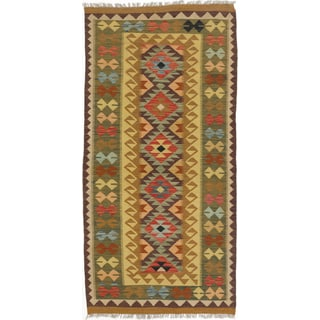 eCarpetGallery Brown/Red Wool Handwoven Kashkoli Kilim Rug (3'4 x 6'8)