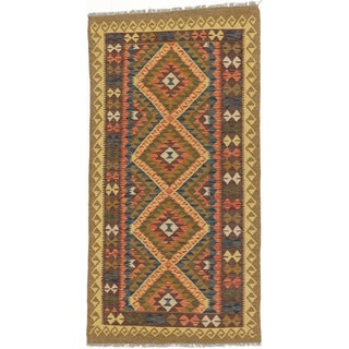 eCarpetGallery Blue/Red Wool Handwoven Kashkoli Kilim (3'5 x 6'8)