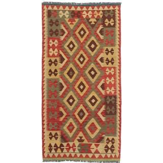 eCarpetGallery Hand-woven Kashkoli Kilim Orange/Red Wool Kilim Area Rug (3'3 x 6'5)