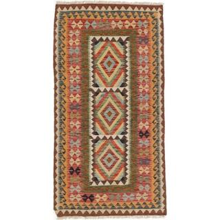 eCarpetGallery Red/Yellow Wool Handwoven Hereke Kilim Rug (3'3 x 6'3)