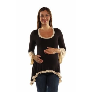 24/7 Comfort Apparel Women's Maternity Two-Tone Ruffled Tunic