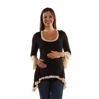 24/7 Comfort Apparel Women's Maternity Two-Tone Ruffled Tunic