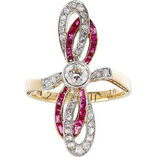 18k Yellow Gold 2/3ct TDW Diamond and Ruby Antique Double Ribbon Estate Ring (H-I, SI1-SI2)
