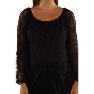 24/7 Comfort Apparel Women's Pretty Black Lace Maternity Tunic Top