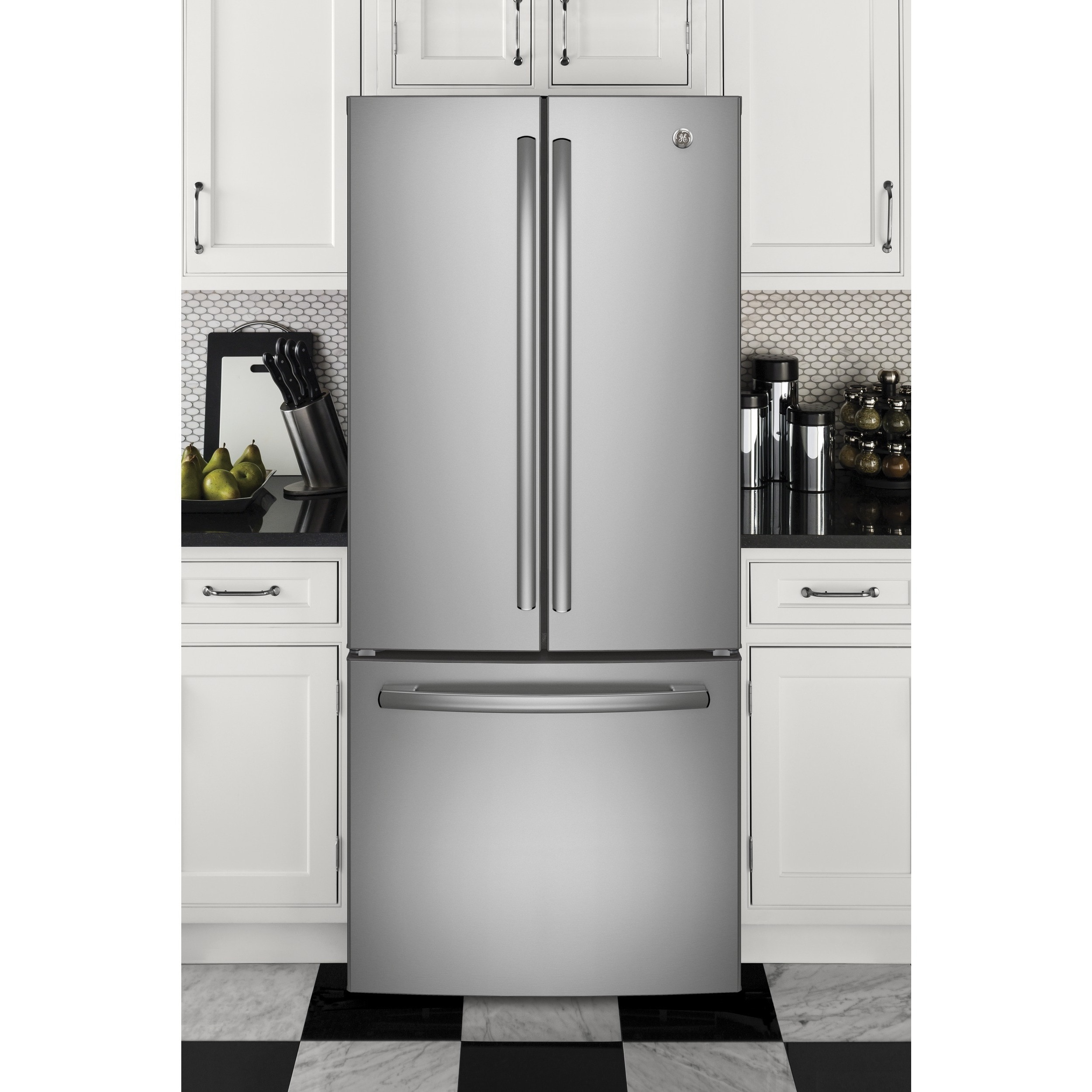 GE Series Energy Star 20.8 Cubic foot French Door Refrige...