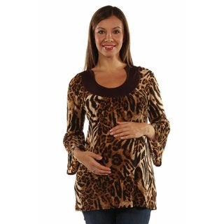 24/7 Comfort Apparel Women's Lovely Leopard Print Maternity Tunic Top