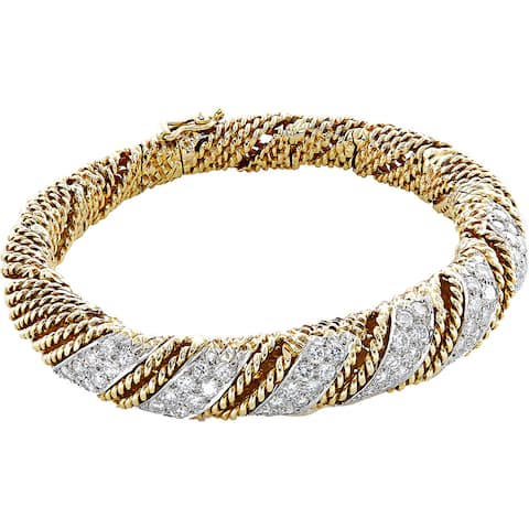 18K Yellow Gold 5ct TDW Pave Diamonds Twisted Rope Estate Bangle