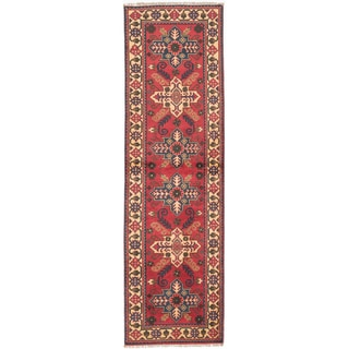 Hand-knotted Finest Kargahi Red Wool Rug - 2'10 x 9'6