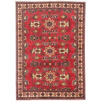 eCarpetGallery Finest Kargahi Red Wool and Cotton Hand-knotted Area Rug (5' x 7'1)