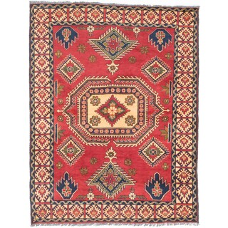 eCarpetGallery Red Wool Hand-knotted Finest Kargahi Rug (5'2 x 6'9)