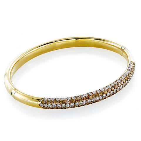 18K Yellow Gold 4 1/2ct TDW 5 Row Diamond Top Estate Bangle (H-I, VS1-VS2)