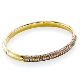 18K Yellow Gold 4 1/2ct TDW 5 Row Diamond Top Estate Bangle (H-I, VS1-VS2)